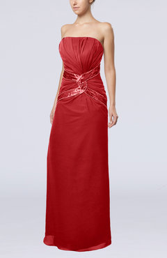 Red Gorgeous Strapless Zipper Chiffon Floor Length Beaded Prom Dresses