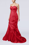 Modern Hall Trumpet Lace up Satin Court Train Sequin Bridal Gowns