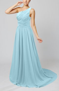 Aqua Cinderella Asymmetric Neckline Sleeveless Half Backless Court Train Bridesmaid Dresses
