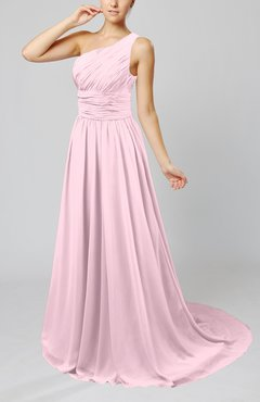 Blush Cinderella Asymmetric Neckline Sleeveless Half Backless Court Train Bridesmaid Dresses