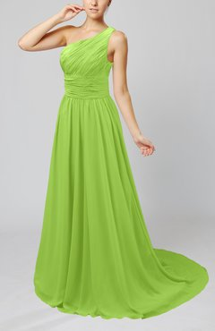 Bright Green Cinderella Asymmetric Neckline Sleeveless Half Backless Court Train Bridesmaid Dresses