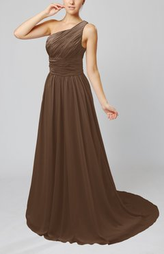 Brown Cinderella Asymmetric Neckline Sleeveless Half Backless Court Train Bridesmaid Dresses