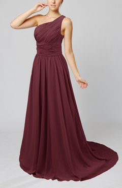 Burgundy Cinderella Asymmetric Neckline Sleeveless Half Backless Court Train Bridesmaid Dresses