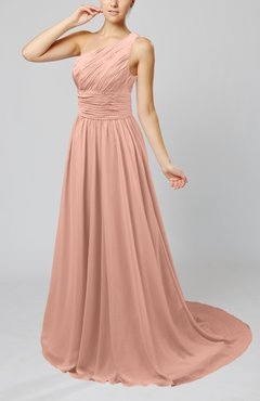 Burnt Orange Cinderella Asymmetric Neckline Sleeveless Half Backless Court Train Bridesmaid Dresses