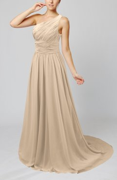 Champagne Cinderella Asymmetric Neckline Sleeveless Half Backless Court Train Bridesmaid Dresses