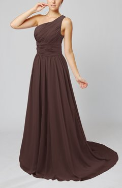 Chocolate Brown Cinderella Asymmetric Neckline Sleeveless Half Backless Court Train Bridesmaid Dresses