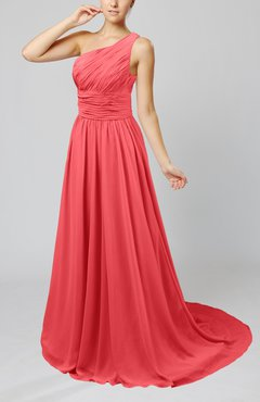 Coral Cinderella Asymmetric Neckline Sleeveless Half Backless Court Train Bridesmaid Dresses
