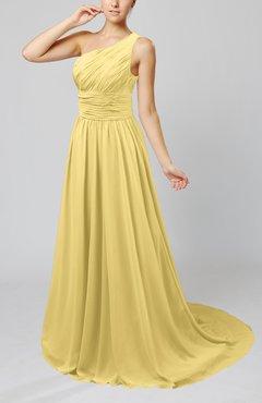 Daffodil Cinderella Asymmetric Neckline Sleeveless Half Backless Court Train Bridesmaid Dresses