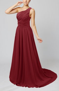 Dark Red Cinderella Asymmetric Neckline Sleeveless Half Backless Court Train Bridesmaid Dresses
