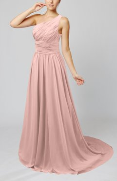 Dusty Rose Cinderella Asymmetric Neckline Sleeveless Half Backless Court Train Bridesmaid Dresses