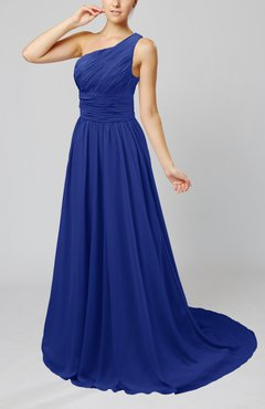 Electric Blue Cinderella Asymmetric Neckline Sleeveless Half Backless Court Train Bridesmaid Dresses