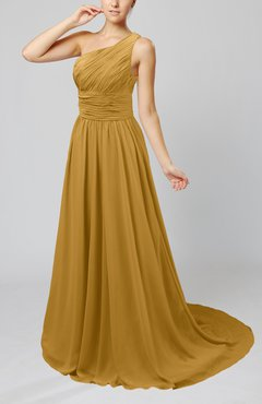 Gold Cinderella Asymmetric Neckline Sleeveless Half Backless Court Train Bridesmaid Dresses