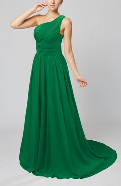 Green Cinderella Asymmetric Neckline Sleeveless Half Backless Court Train Bridesmaid Dresses