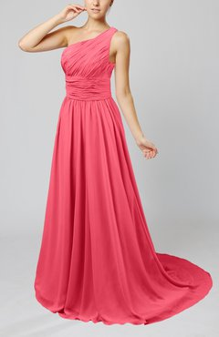 Guava Cinderella Asymmetric Neckline Sleeveless Half Backless Court Train Bridesmaid Dresses