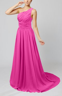 Hot Pink Cinderella Asymmetric Neckline Sleeveless Half Backless Court Train Bridesmaid Dresses