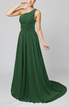 Hunter Green Cinderella Asymmetric Neckline Sleeveless Half Backless Court Train Bridesmaid Dresses