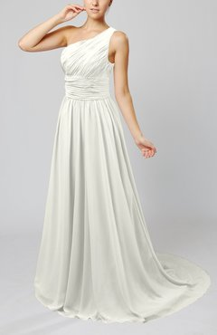 Ivory Cinderella Asymmetric Neckline Sleeveless Half Backless Court Train Bridesmaid Dresses