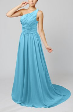 Light Blue Cinderella Asymmetric Neckline Sleeveless Half Backless Court Train Bridesmaid Dresses