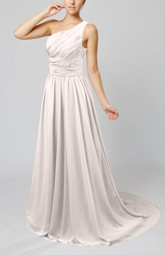 Light Pink Cinderella Asymmetric Neckline Sleeveless Half Backless Court Train Bridesmaid Dresses