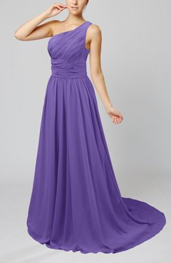 Lilac Cinderella Asymmetric Neckline Sleeveless Half Backless Court Train Bridesmaid Dresses