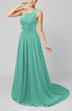 Mint Green Cinderella Asymmetric Neckline Sleeveless Half Backless Court Train Bridesmaid Dresses