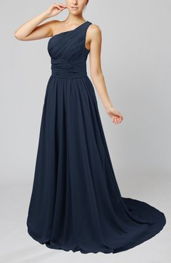 Navy Blue Cinderella Asymmetric Neckline Sleeveless Half Backless Court Train Bridesmaid Dresses