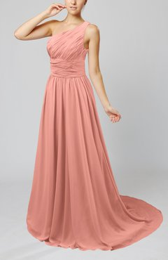 Peach Cinderella Asymmetric Neckline Sleeveless Half Backless Court Train Bridesmaid Dresses