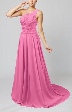 Pink Cinderella Asymmetric Neckline Sleeveless Half Backless Court Train Bridesmaid Dresses