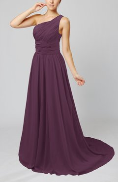 Plum Cinderella Asymmetric Neckline Sleeveless Half Backless Court Train Bridesmaid Dresses