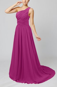 Raspberry Cinderella Asymmetric Neckline Sleeveless Half Backless Court Train Bridesmaid Dresses