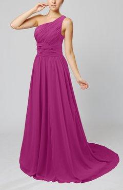 Raspberry Cinderella Asymmetric Neckline Sleeveless Half Backless Court Train Bridesmaid Dresses