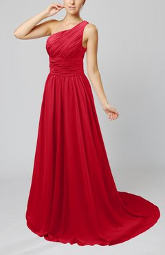 Red Cinderella Asymmetric Neckline Sleeveless Half Backless Court Train Bridesmaid Dresses
