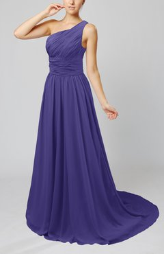 Royal Purple Cinderella Asymmetric Neckline Sleeveless Half Backless Court Train Bridesmaid Dresses