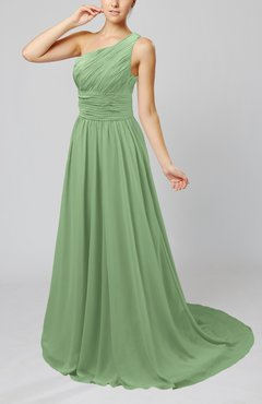 Sage Green Cinderella Asymmetric Neckline Sleeveless Half Backless Court Train Bridesmaid Dresses