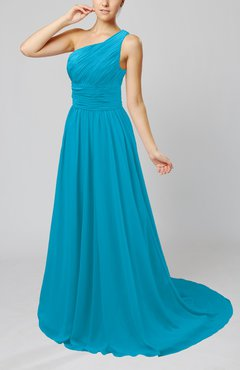 Teal Cinderella Asymmetric Neckline Sleeveless Half Backless Court Train Bridesmaid Dresses