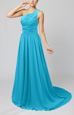Turquoise Cinderella Asymmetric Neckline Sleeveless Half Backless Court Train Bridesmaid Dresses