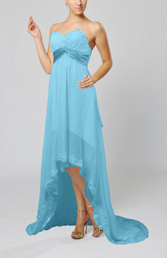 Light Blue Disney Princess Garden Empire Sleeveless Backless Chiffon Sequin Bridal Gowns