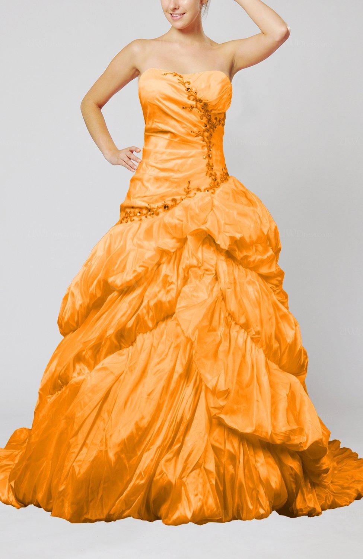 Orange Disney Princess Hall Strapless Sleeveless Taffeta Beading ...