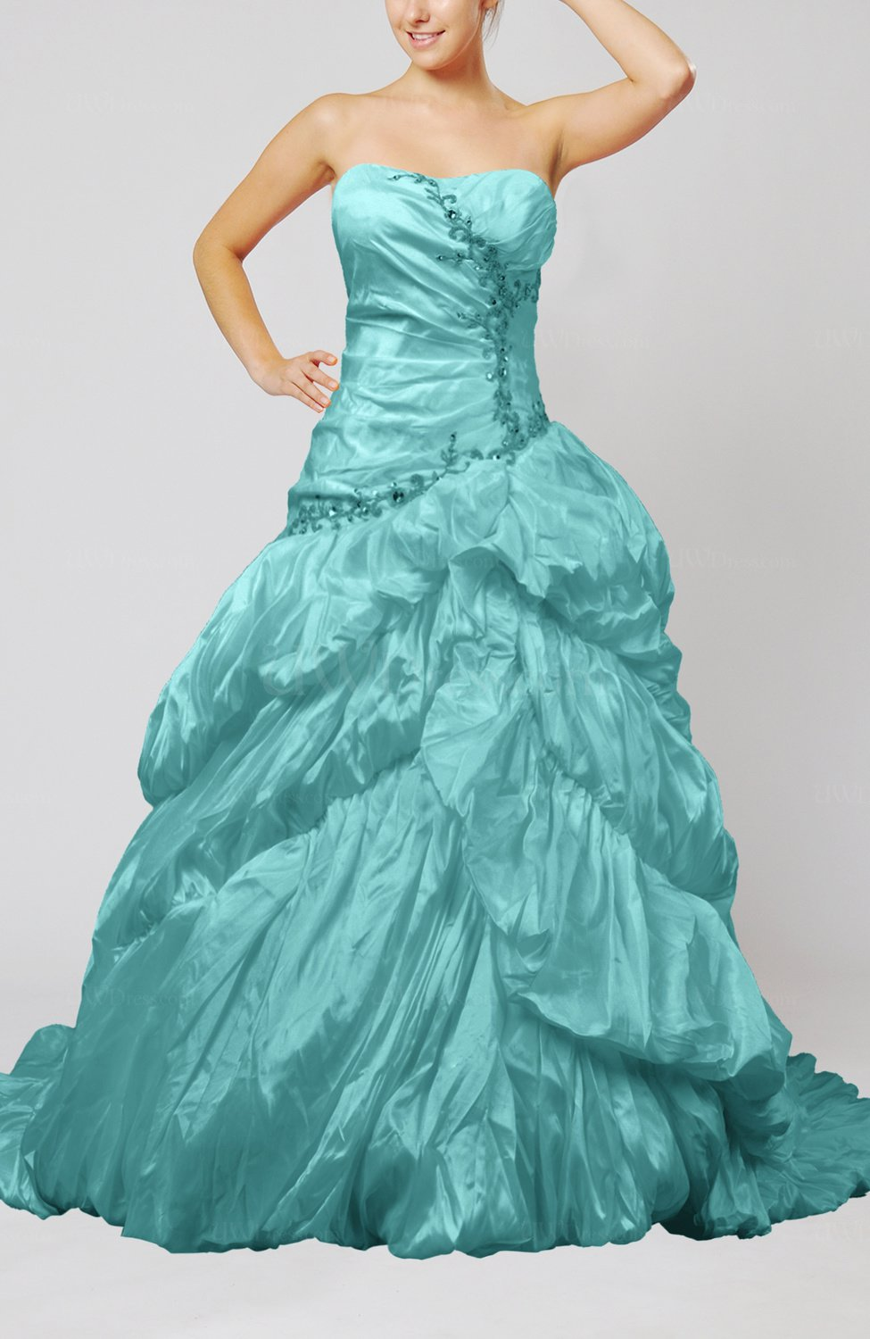Turquoise Disney Princess Hall Strapless Sleeveless Taffeta Beading ...