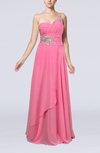 Informal Zipper Chiffon Floor Length Rhinestone Bridesmaid Dresses