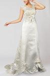 Glamorous Hall Sleeveless Zipper Satin Chapel Train Bridal Gowns