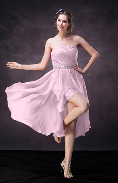 Baby Pink Casual A-line Sweetheart Zip up Tea Length Bridesmaid Dresses