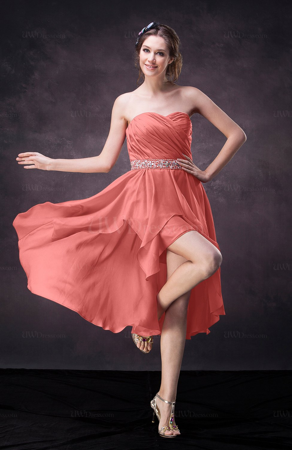 Coral Casual A-line Sweetheart Zip up Tea Length Bridesmaid Dresses ...