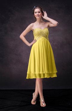 Yellow Rhinestone Bridesmaid Dress