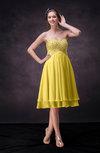 Cute Empire Chiffon Knee Length Rhinestone Bridesmaid Dresses
