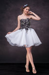 Cute Baby Doll Sweetheart Sleeveless Organza Appliques Wedding Guest Dresses