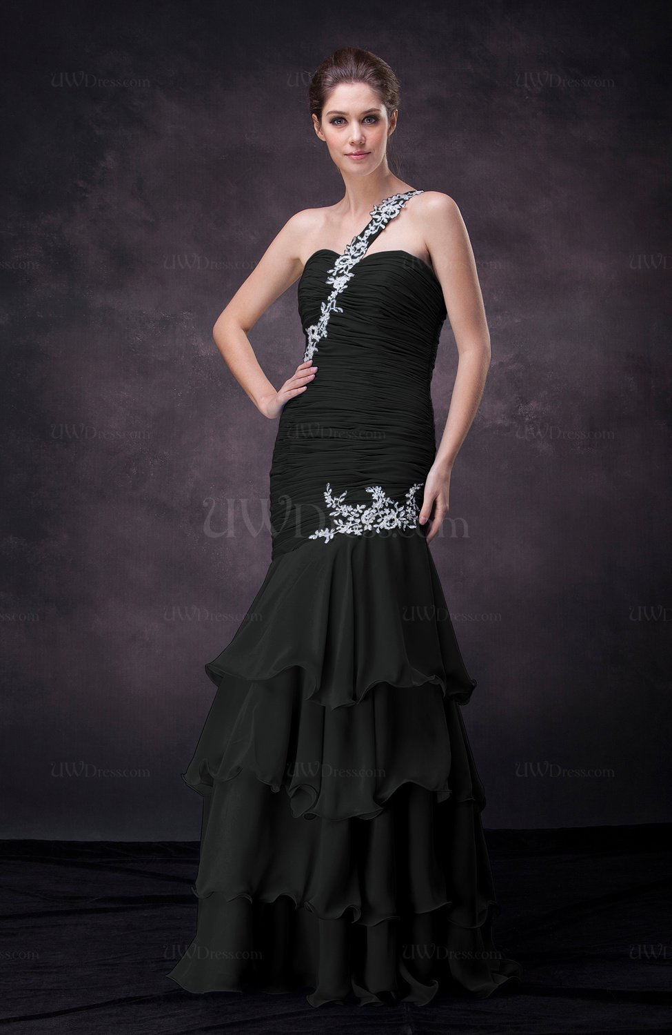 Black sexy trumpet one shoulder sleeveless lace up for Sexy wedding guest dress