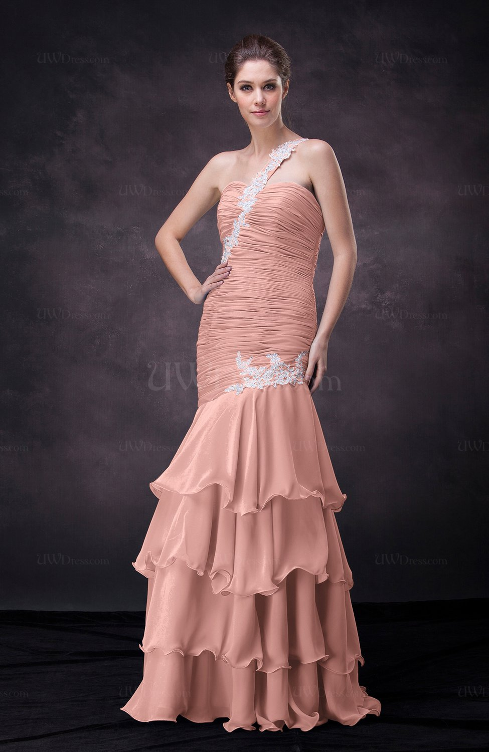 Peach sexy trumpet one shoulder sleeveless lace up for Sexy wedding guest dress