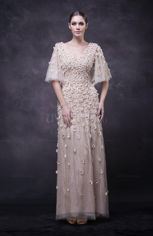 Modest Half Length Sleeve Zipper Paillette Wedding Guest Dresses ...