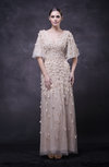 Modest Half Length Sleeve Zipper Paillette Wedding Guest Dresses